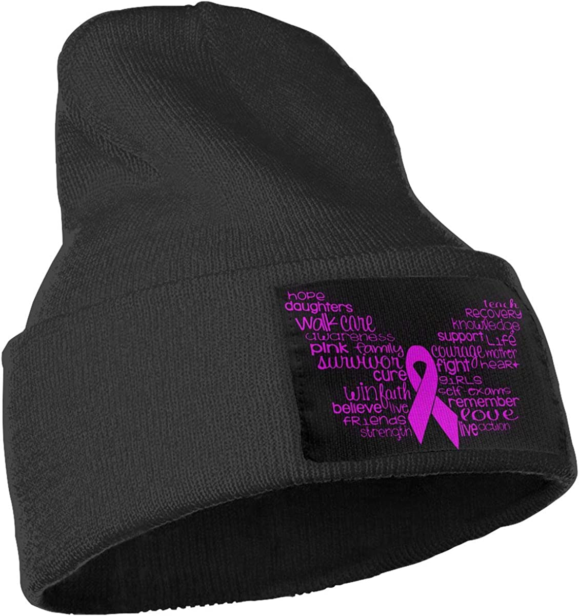 Breast Cancer Butterfly Skull Cap Men /& Women Knit Hats Stretchy /& Soft Beanie
