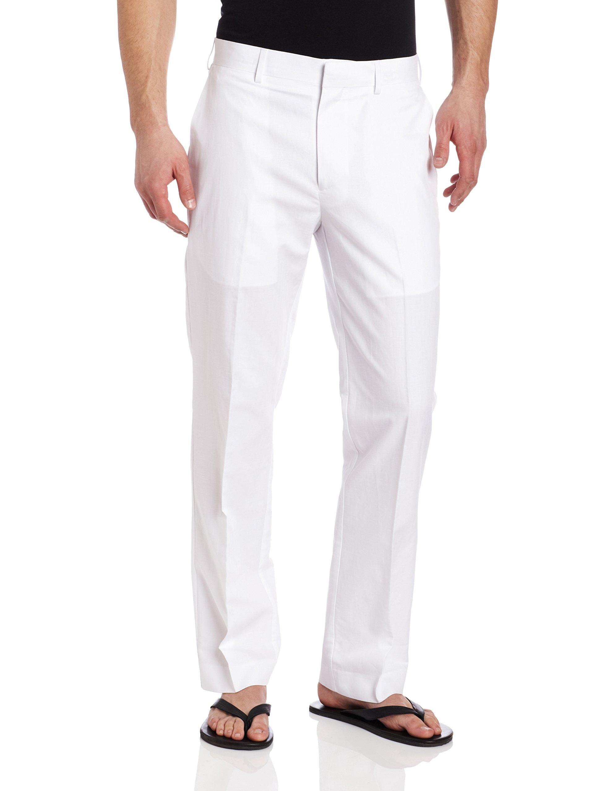 Cubavera Men's Big and Tall Linen-Cotton Herringbone-Textured Pant, Bright White, 50W X 30L
