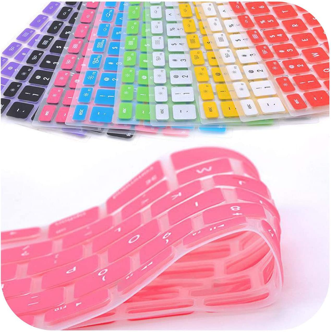 9 Colors Soft Keyboard Stickers Silicone Keyboard Cover Skin Protector for Pro for MAC 13 15 Air 13-one/_Color