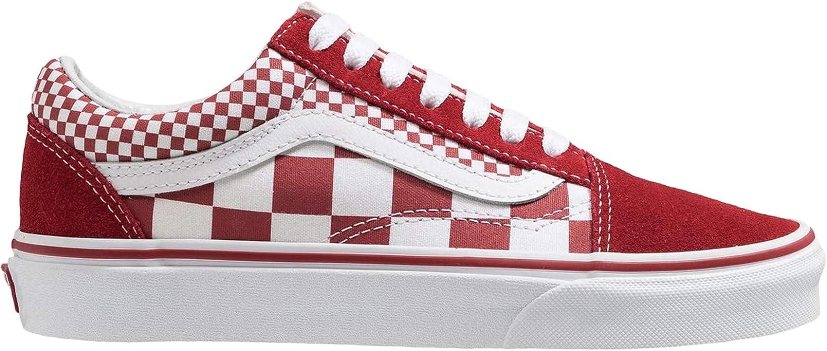Vans Old Skool Sneakers Damen Herren Unisex Rot Weiß Kariert