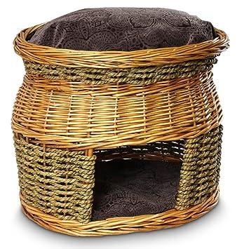 Amazon.com: Cama de lujo doble Decker gato cesta de mimbre y ...