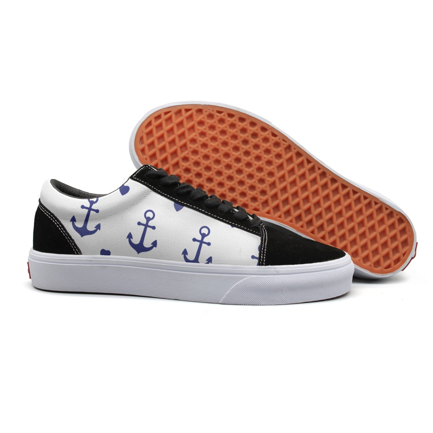 VCERTHDF Print Trendy Love Anchor Pattern Low Top Canvas Sneakers