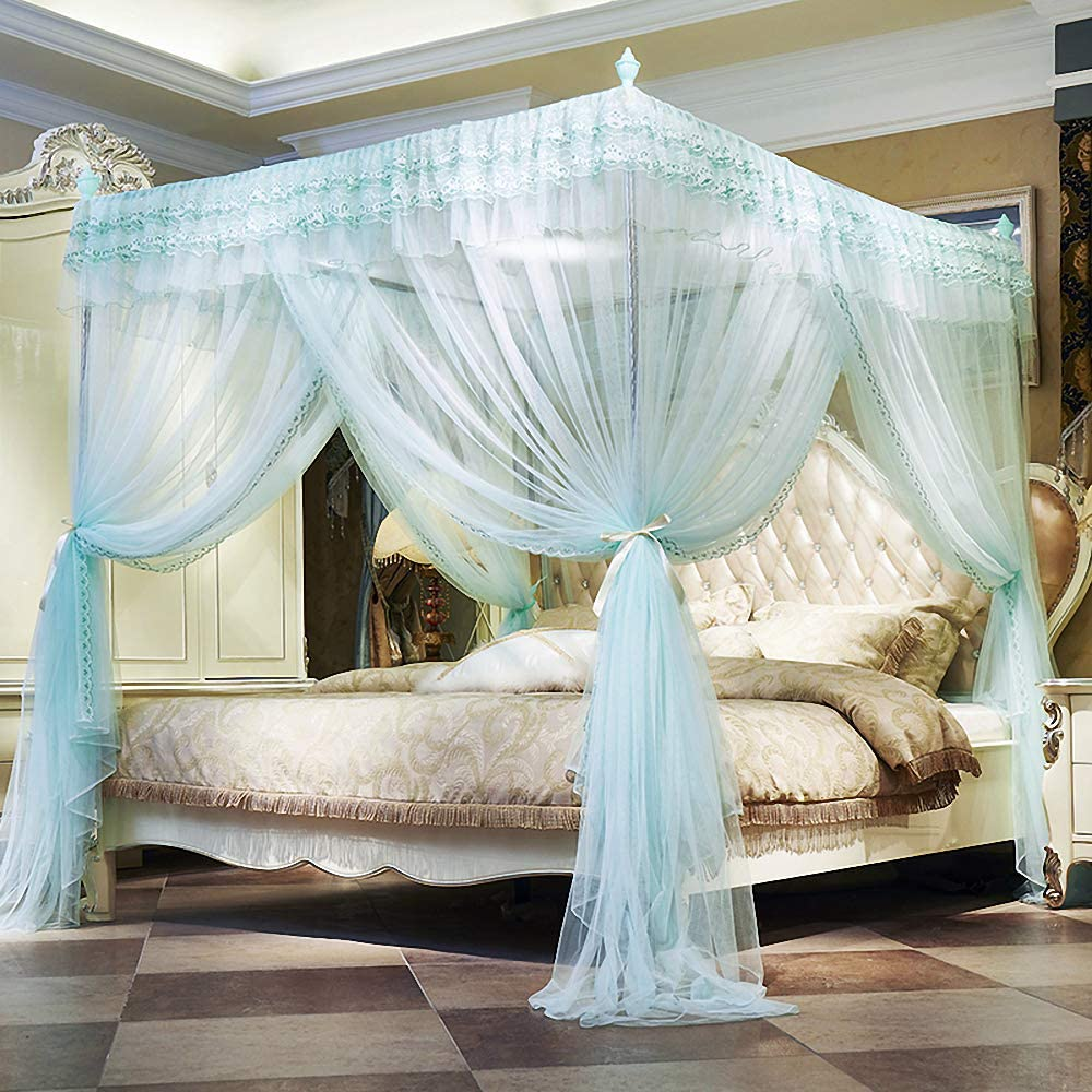 JQWUPUP Luxury Canopy Bed Curtains, Ruffle Princess 4 Corner Post Mosquito Net, Lace Bed Canopy for Girls Kids Toddlers Crib, Anti-Mosquito Bedroom Décor (Twin, Light Blue)