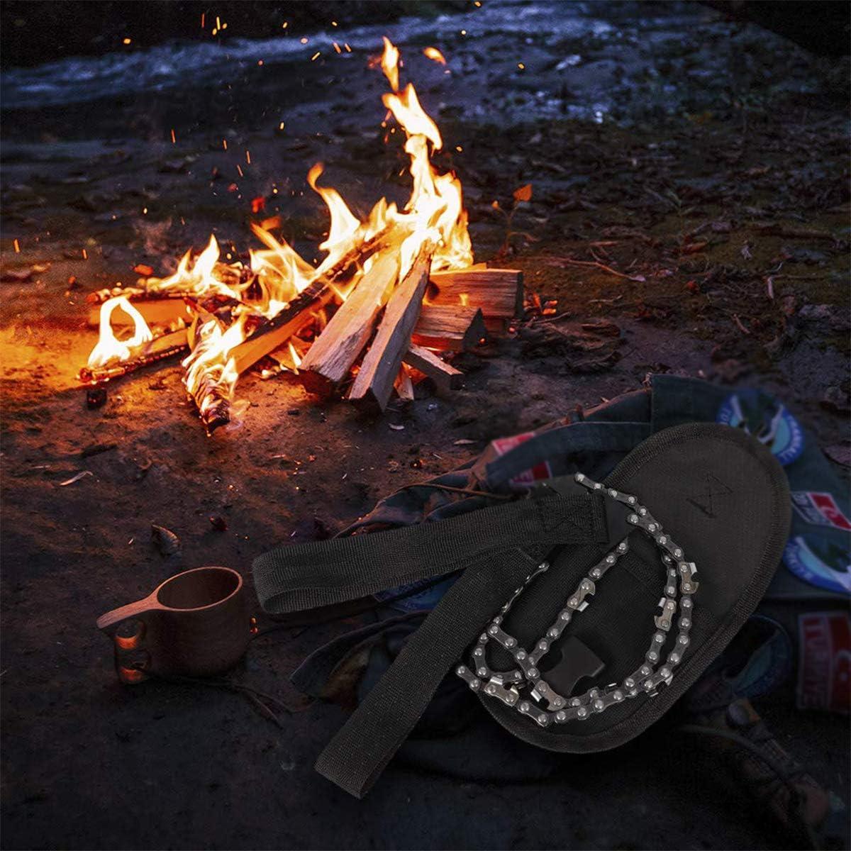 Scie /à cha/îne de survie Scie /à cha/îne de poche portable de survie Scie /à cha/îne durgence avec sac de camping Outil de randonn/ée