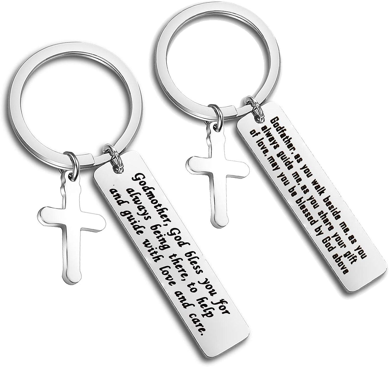 Godfather Gift For Godfather Keyring Christening Gift Hand Stamped Keychain Men Gift,Cross Keyring Godparent Gift, Personalized Keyring