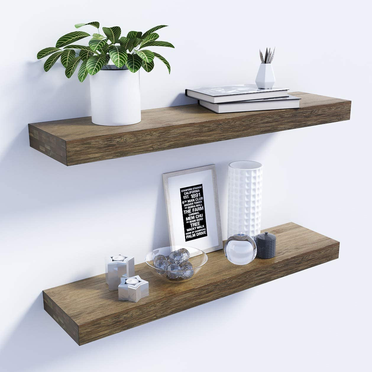 Bamfox Floating Shelves Set Of 2 Natural Bamboo Wall Shelf Wall Mounted Shelves Wall Mount Display Rack With Large Storage L23 X W6 For Kitchen Living Room Bathroom Bedroom Kitchen Dining
