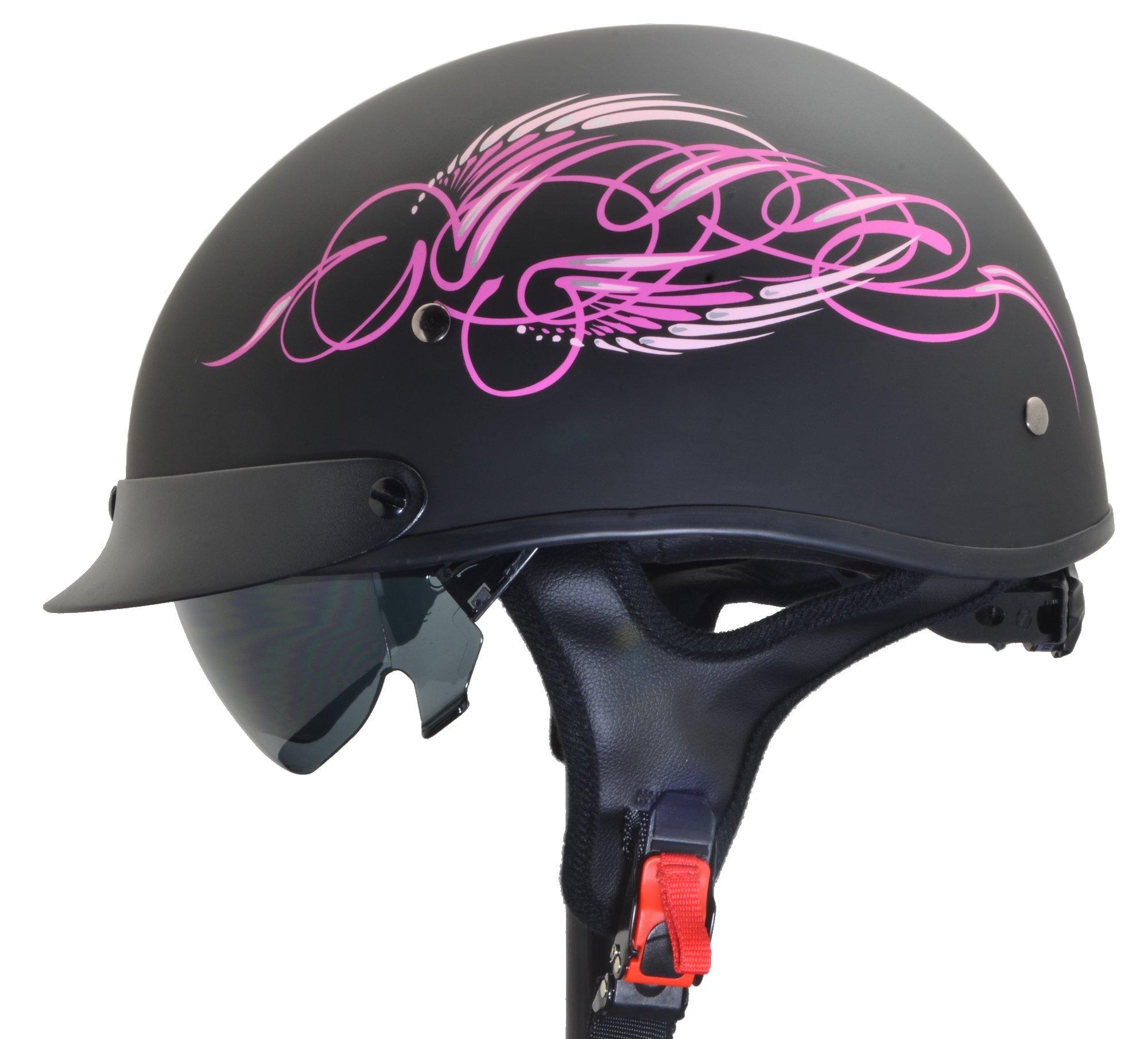 Vega Helmets Unisex-Adult Half Helmet (Pink Scroll on Matte Black, Small) by Vega Helmets