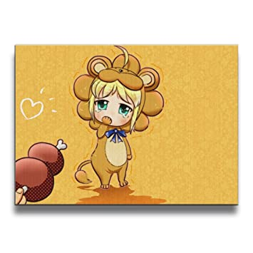 Decorative Frameless Paintings Anime Lion 16 By 20 Inch Canvas Wall Art Painting