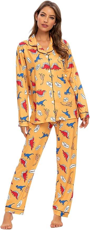 Conjunto de pijama para mujer con estampado floral y pijama de manga larga con botones en la parte delantera