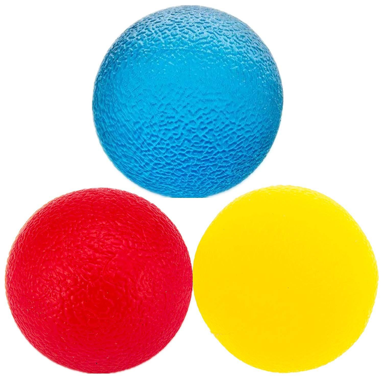 抵抗レベル3段階 理学療法ハンドボール ストレス解消ボール 複数の抵抗セラピー エクササイズジェルスクイーズボール キット ハンドフィンガー 手首 筋肉 関節炎 グリップエクササイザー 強化 3個   B07JX5BYQ3