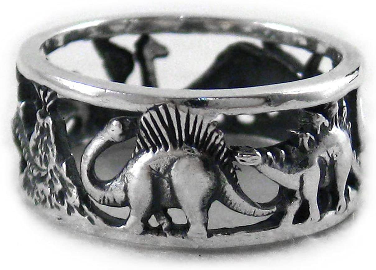 Sterling Silver Dinosaurs Band Ring, Size 8