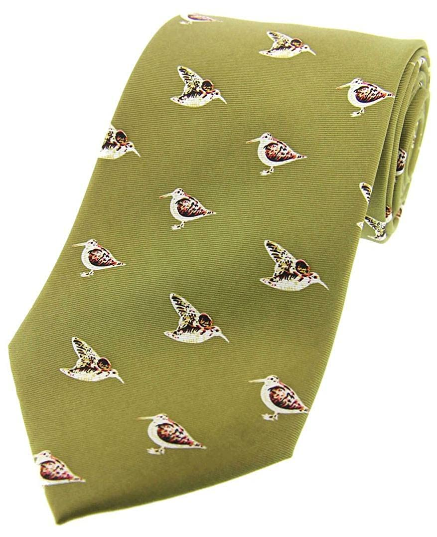 David Van Hagen Mens Standing Woodcock Country Silk Tie Country Green