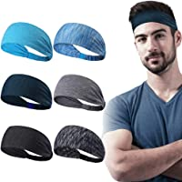 6 Pack Dreamlover Yoga Sports Headband, Women's Elastic Athletic Hairband, Men's Sweatband, Lightweight Working Out…
