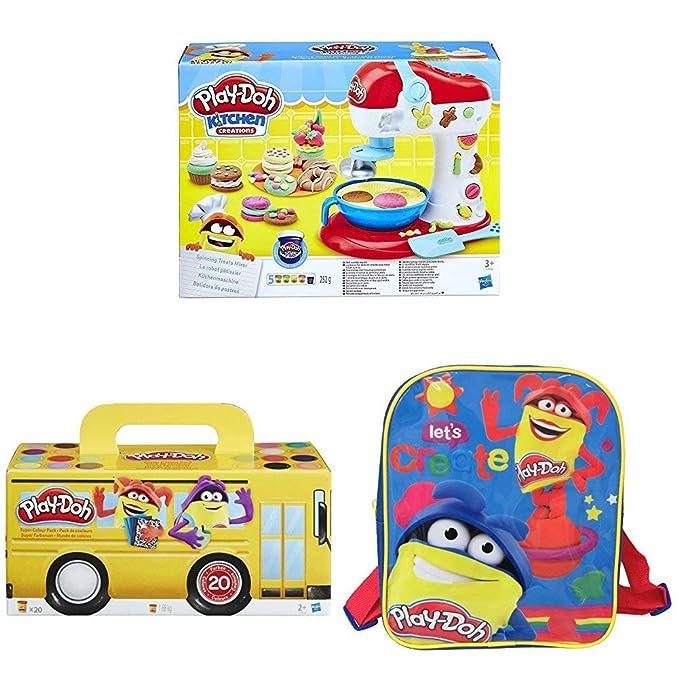 Play-Doh - Batidora De Postres + Pack Super Color, 20 Botes + Mochila: Amazon.es: Juguetes y juegos