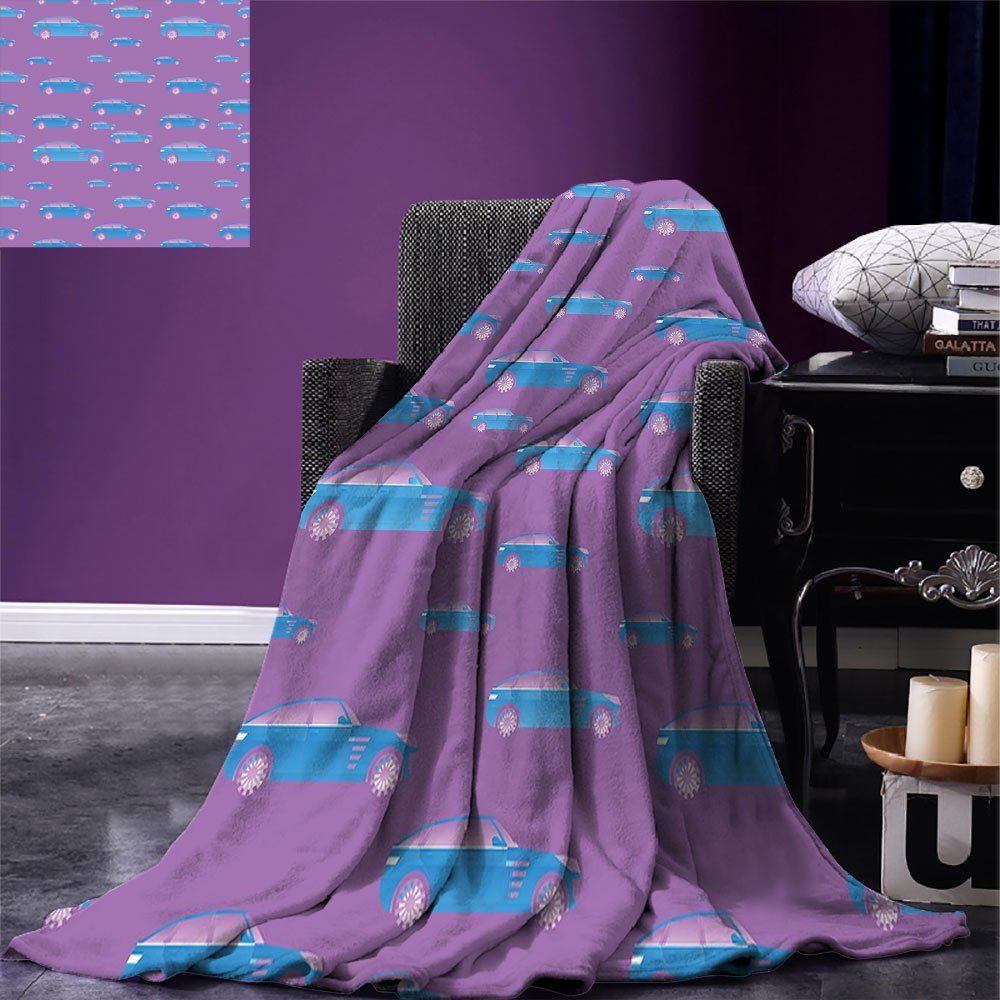smallbeefly Cars Weave Pattern Extra Long Blanket Blue Automobile on Pink Background Sports Car with Big Wheels and Tinted Windows Custom Design Cozy Flannel Blanket Fuchsia Blue