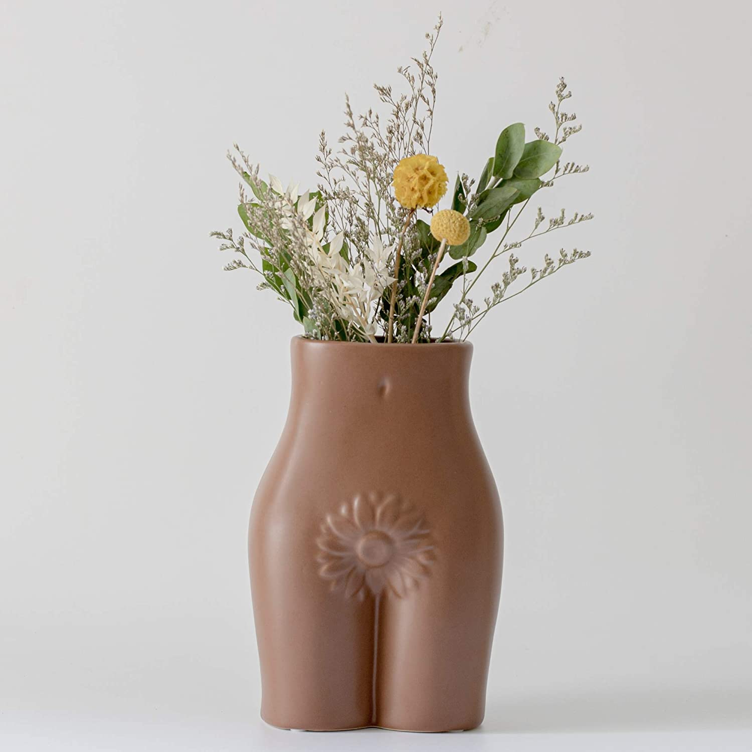 Female Form Body Flower Vase, Tall Ceramic Vases for Modern Boho Home Decor, Lady Butt Vase, Indoor Planter Plant Pot, Feminist Decors Cute Chic Accent Pieces