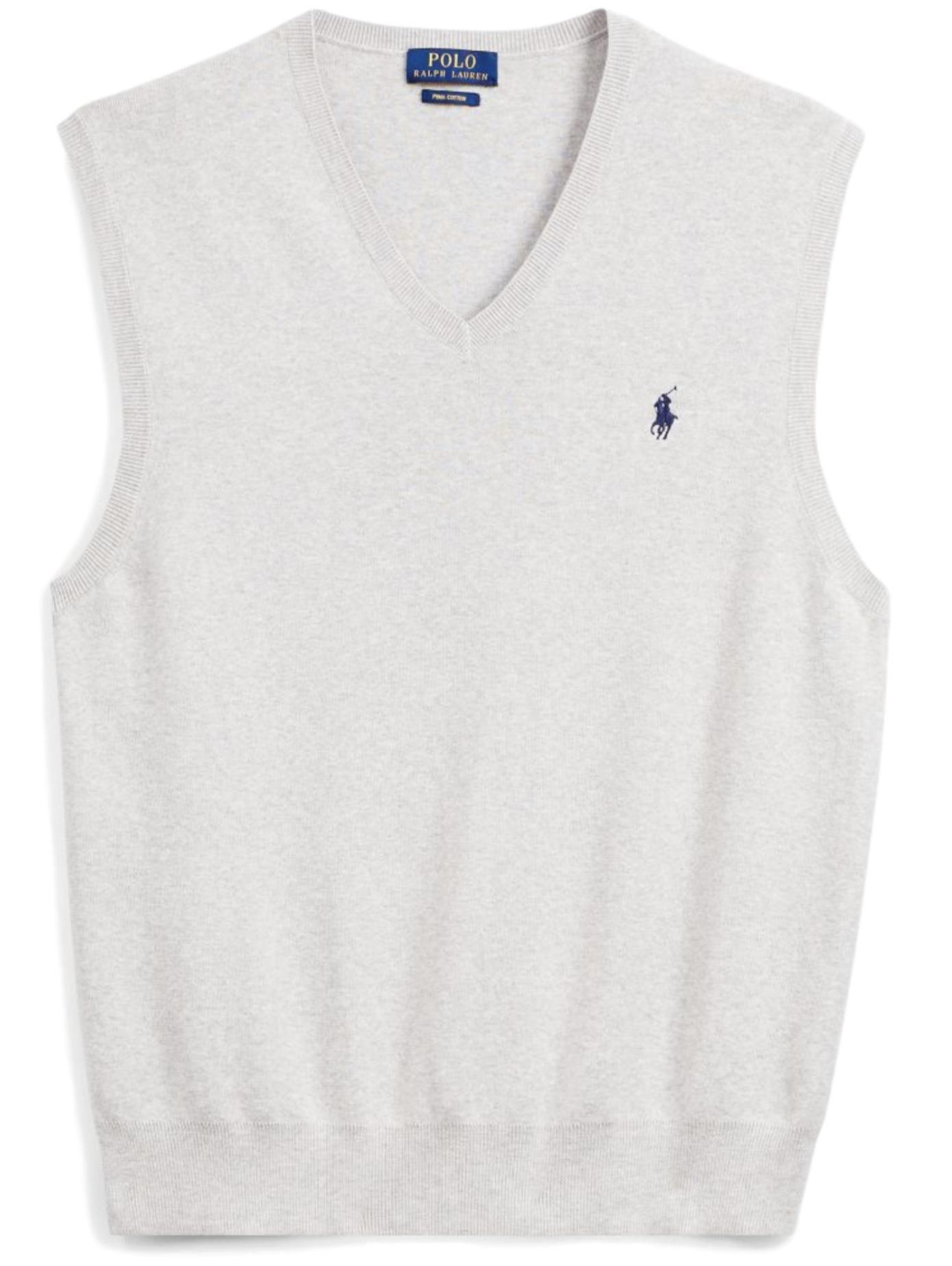 Polo Ralph Lauren Men's Pima Cotton Sweater Vest, M, Lite Grey HTH-