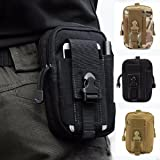 CAMTOA Multi-Purpose Poly Tool Holder EDC Pouch Camo Bag Military Nylon Utility Tactical Waist Pack Camping Hiking Pouch Black
