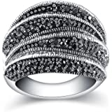Mytys Vintage Silver Rings for Women Girl Fashion Black Marcasite Cluster Rings Size 6 7 8 9 10