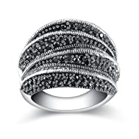 Mytys Fashion Black Marcasite Ring Vintage Jewelry Silver Rings for Women Mother's day Gift