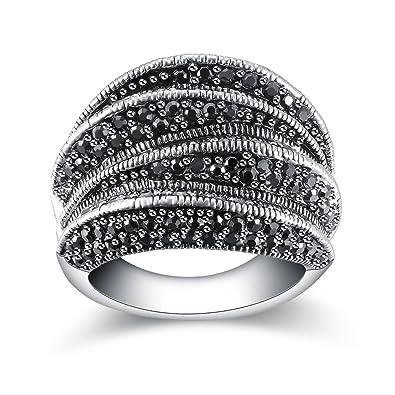 TOLLER Echter 925 Silber Damen  Ring mit Zirkonia und Markasit  VERSTELLBAR !!!