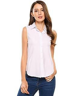 b5d93db0 Zeagoo Women's Sleeveless Button Down Shirt Tops Solid Casual Loose Blouse