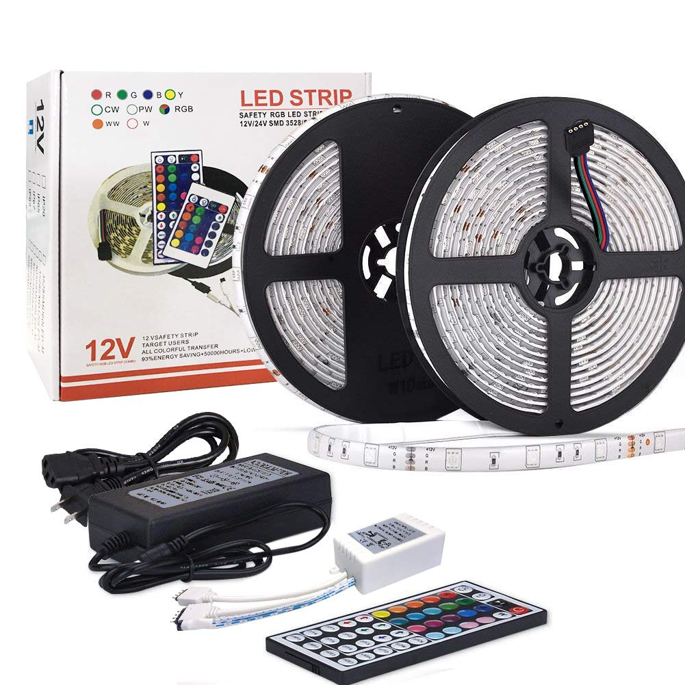 LED Strip Light Waterproof 32.8ft 10m Flexible Color Changing RGB SMD 5050 300leds LED Strip Light Kit with 44 Keys IR Remote Controller and 12V 5A Power Supply for Home Kitchen Indoor (Multi-colored)