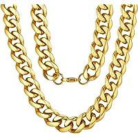ChainsPro Halsketten Für Männer Silber/Schwarz / 18K Gold Halskette -Panzerkette Männer- 3/6/9/12 mm Breite Herrenschmuck - Verschiedene Längen:46/56/66/71/76cm