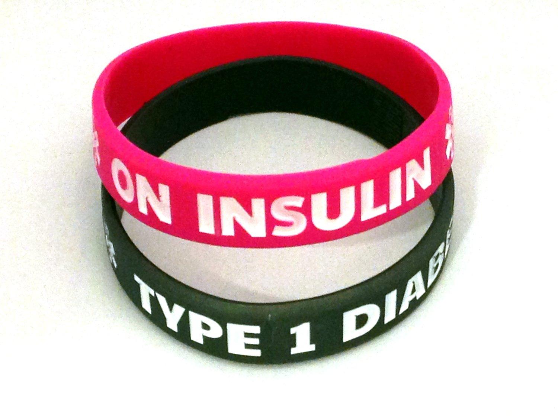 7' Diabetes Type 1 Silicone Bracelets- Set of 2 Hope