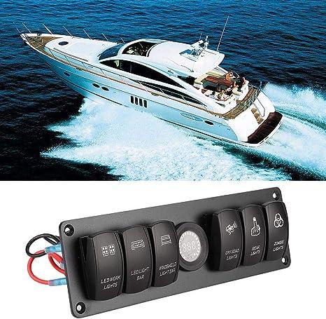Marine Schalttafel Marine Panel 24V Wasserdicht Schalter f/ür Fahrzeug Schiff Yacht 3 in 1