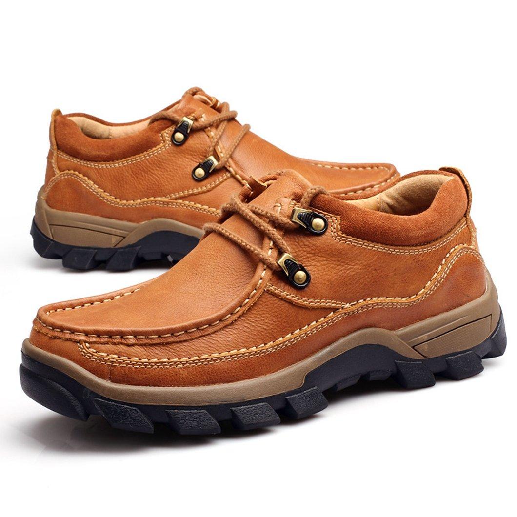 リョウピンカジュアルシューズ メンズ ブラウン カーキ レザー レースアップ アウトドア 厚底 ワークシューズ 革靴 通勤 紳士靴 B078N4VF48 25.0 cm ブラウン