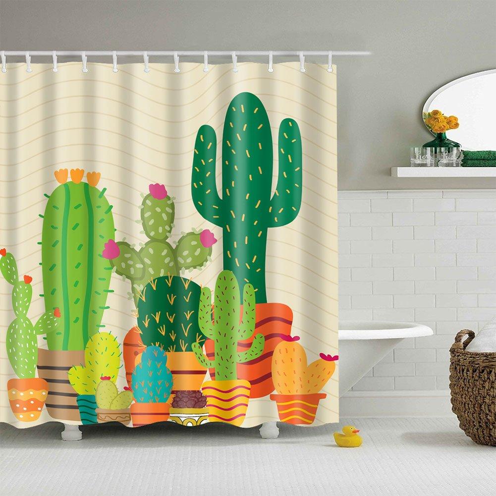 lzndeal Cortina de Ba/ño de la Tela de poli/éster Impermeable de la Cortina de Ducha del Cactus Tropical para el Cuarto de Ba/ño adorna