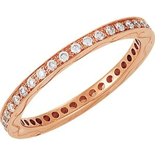 Amazoncom Rosegold Stackable Diamond Anniversary Band Jewelry