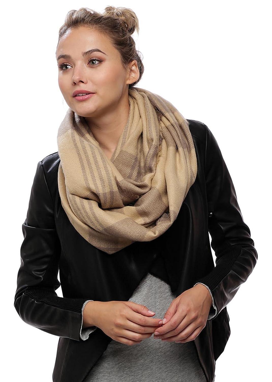 Mix & Match Women's Warm Two Tone Plaid Check Pattern Infinity Scarf