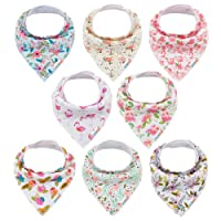 ALVABABY Bandana Drool Bibs 8 Pack of Drooling Teething Feeding,Super Absorbent 100% Cotton For Girls Newborn Infant Toddler Floral Baby Gifts SKX03-CA