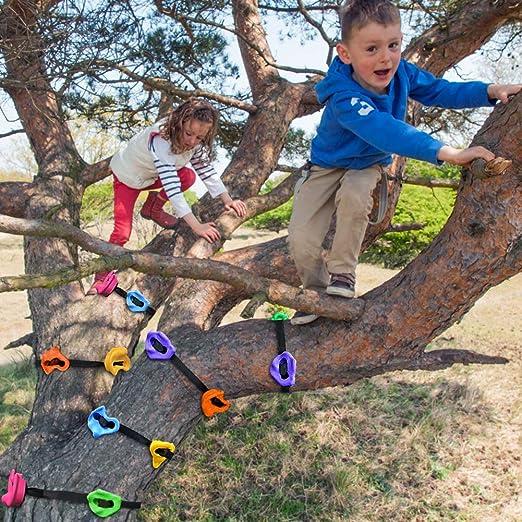 XIAPIA 18 Piezas Presas Escalada Niños Infantil Rocodromo Pared Material Escalada Exterior Juegos al Aire Libre Deportivos Mini Mosquetones Pequeños ...