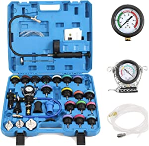 28-Piece Universal Radiator Pressure Tester, Vacuum Type Cooling System Tool Kit For Many Makes and Models with Carrying Case (Blue Case)