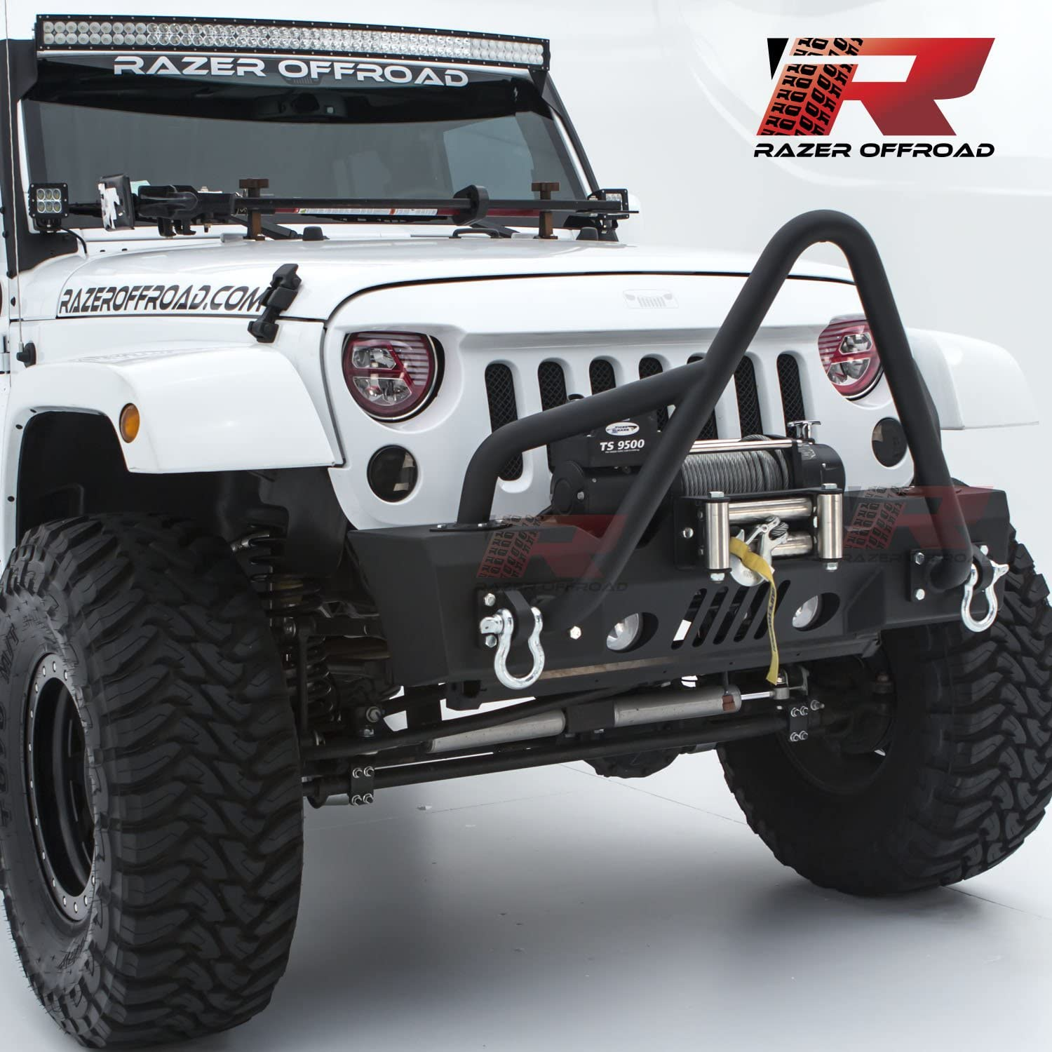 Razer Auto Black Textured Rock Crawler Stubby Front Bumper With Fog Lights Hole /& 2x D-Ring /& Winch Plate for 07-17 Jeep Wrangler JK