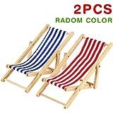2pcs * 1: 12miniature pliable Dollhouse Chaise de plage Modèle Jouets à rayures Rouge/bleu extérieur Chaise longue meubles Accessoires (Radom Couleur)