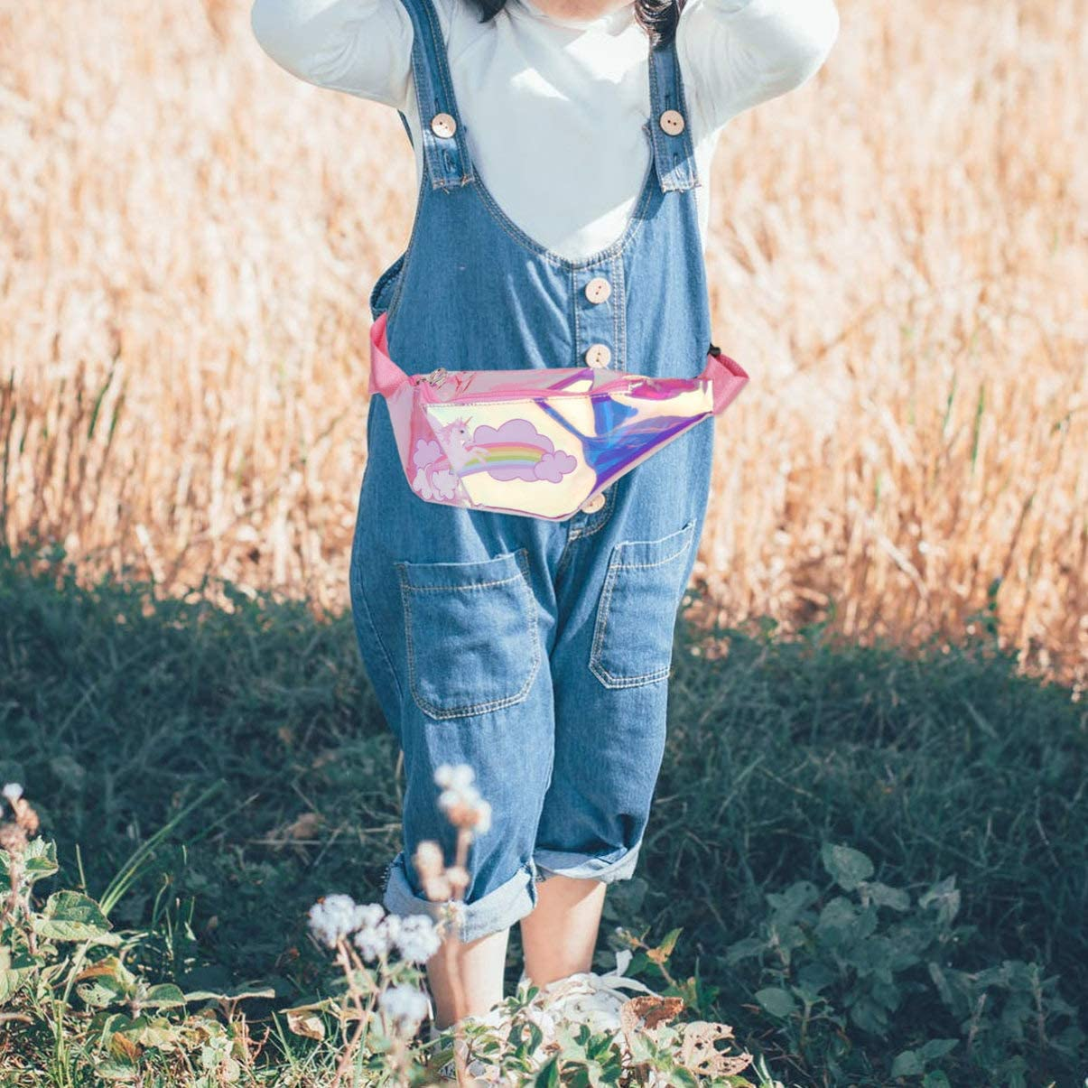 Pink TENDYCOCO Fanny Pack Kids Holographic Chest Bag Translucent Unicorn Waist Bag Cartoon Bumbag for Baby Kids
