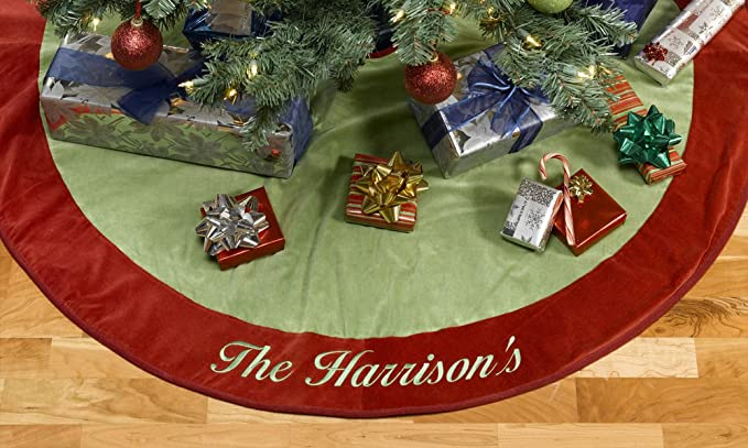 Amazon Com Merrystockings Red And Green Velvet Christmas Tree Skirt Home Kitchen