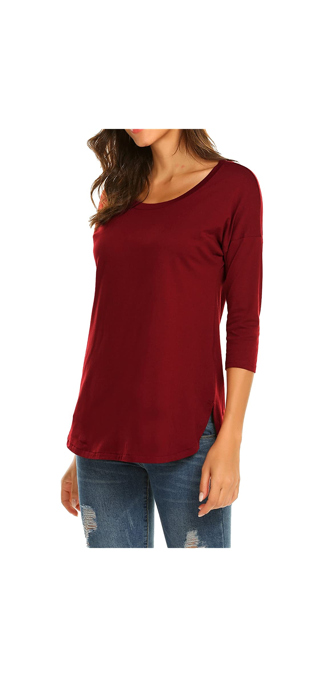 Women's Casual / Sleeve Loose Tunic Tops Scoop Neck