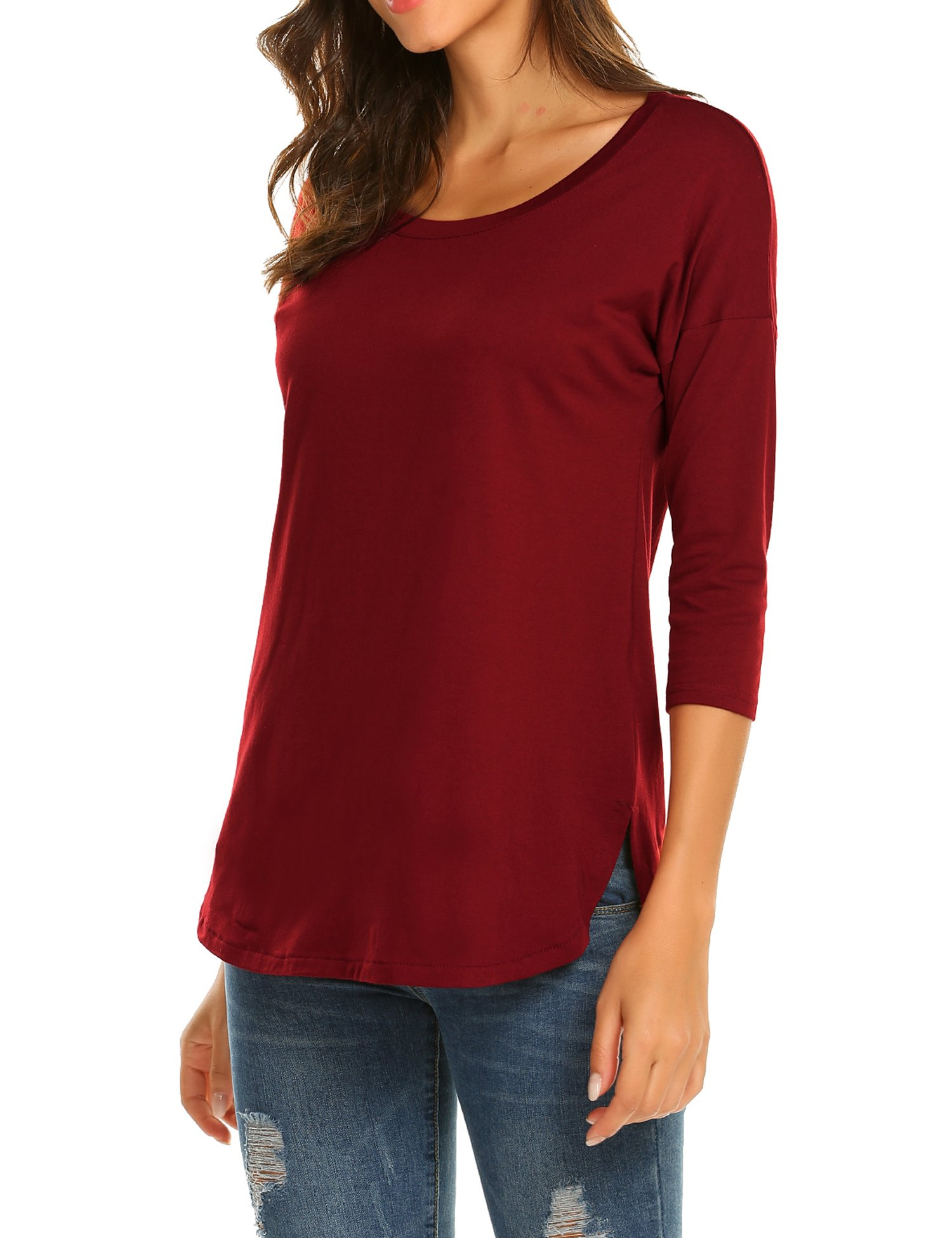 Sherosa Summer Casual Loose Side Split Tee Shirt Top Blouse Tunics for Women (L, Wine Red)