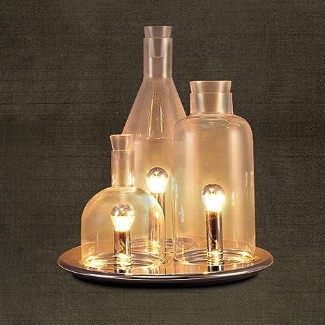 Diseño de personajes tres botellas de vidrio de la lámpara de la lámpara de cabecera estudio
