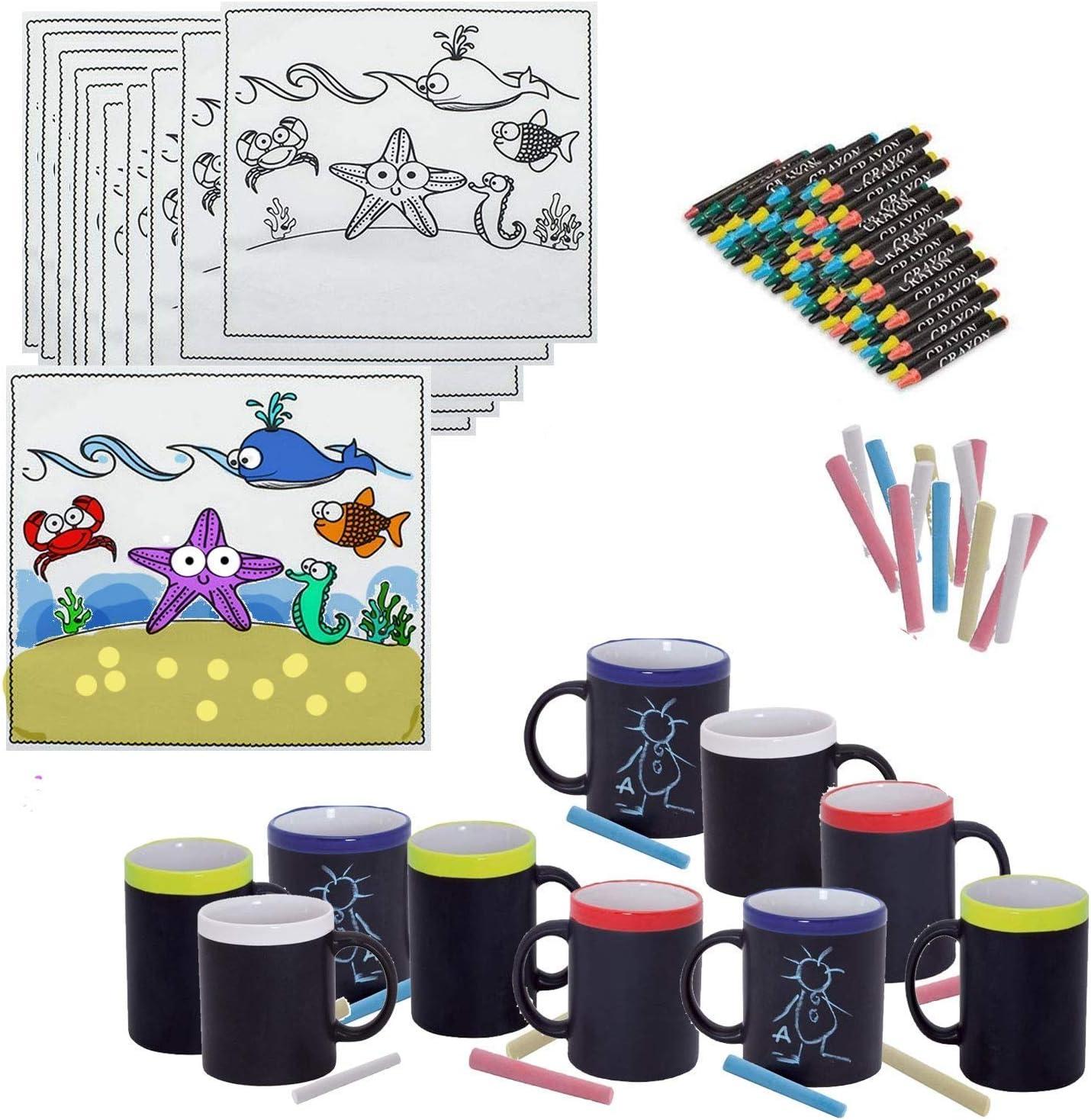 Pack para Meriendas, 20 Tazas de Pizarra y Tizas a Juego y 20 Manteles de Animales Marítimo cumpleaños Infantiles colegios: Amazon.es: Juguetes y juegos