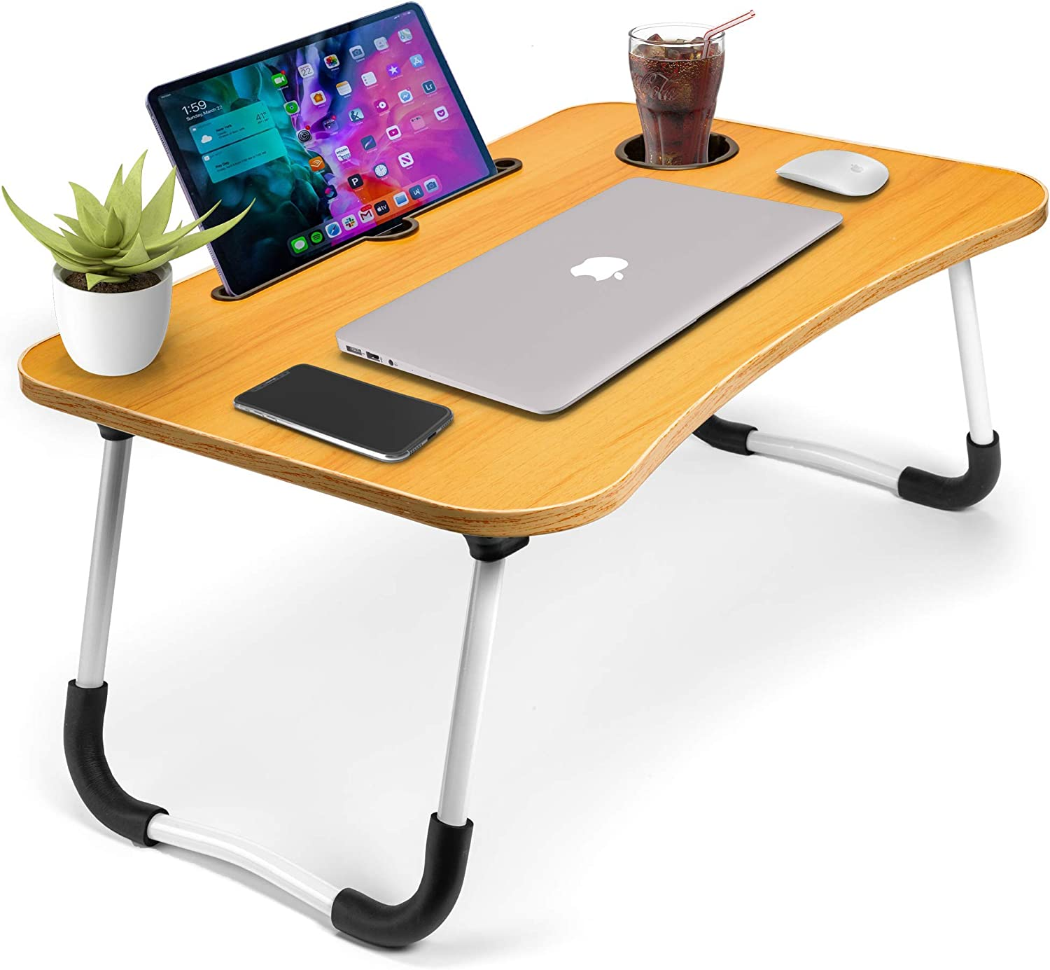 Laptop Desk for Bed by Gods of Essentials | Laptop Table for Bed | Laptop Bed Tray Table | Foldable Lap Desk Stand | Adjustable Laptop Table for Bed |