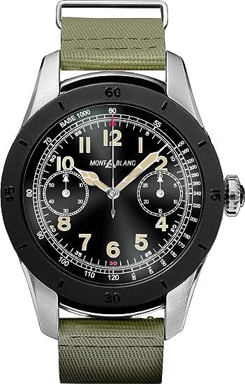 Montblanc Cumbre Smartwatch 117545 bicolor acero caso con color caqui correa de goma color verde: Amazon.es: Relojes