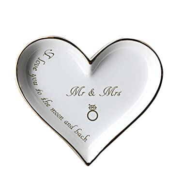 Ring Dish Mr and Mrs I Love You to the Moon and Back Heart Golden Ceramic
