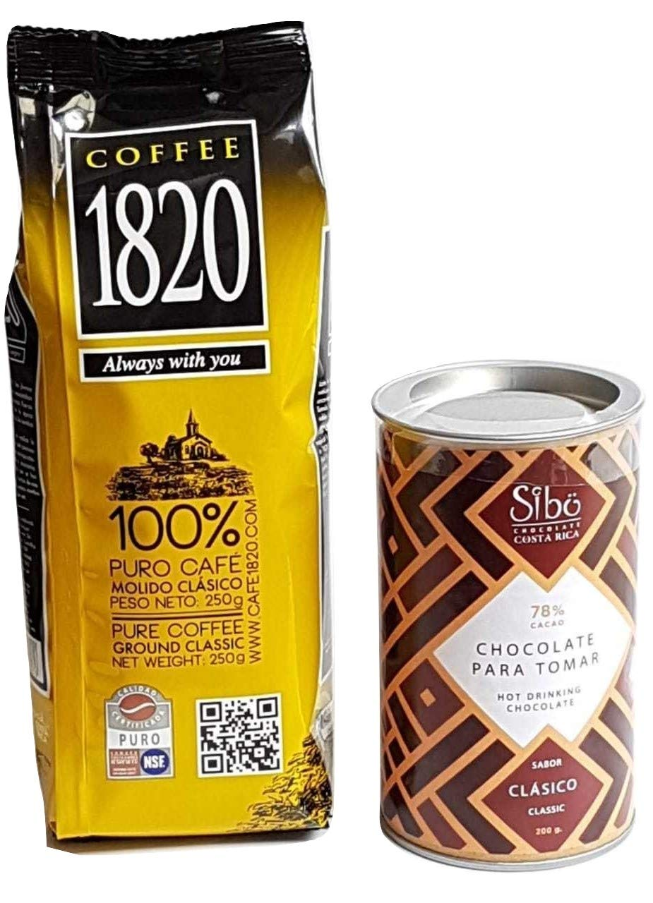 Cafe 1820 Costa Rican Coffee (250 gr) bundled with Sibu Clasico Costa Rican Gourmet Hot Chocolate Mix (200 gr) Award-winning 78% Cacao (2 items): ...
