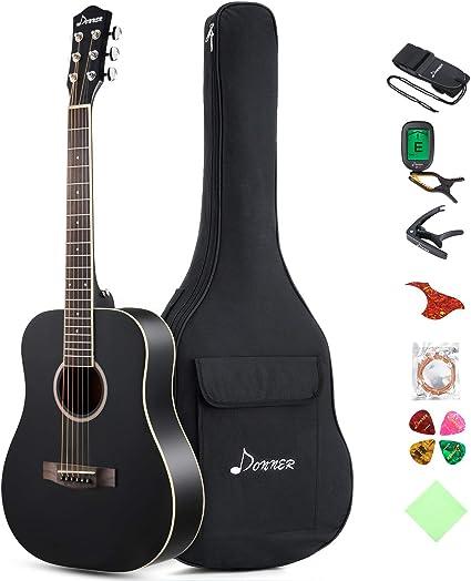 Donner Dreadnought - Guitarra acústica de 36 pulgadas, tamaño 3/4 ...